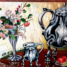 Tablou - pictura veche ulei - natura statica - rama frumoasa, Realism
