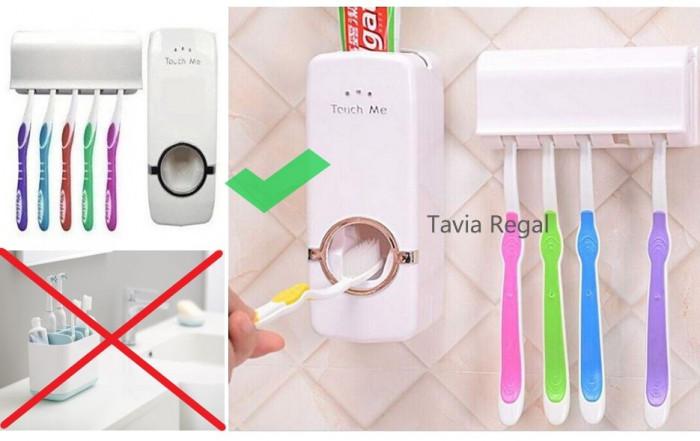 Dozator automat pasta de dinti, pentru copii + suport pentru 5 periute
