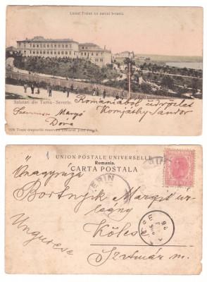 Turnu-Severin 1906 - Liceul Traian si parcul, ilustrata circulat foto