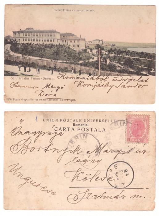 Turnu-Severin 1906 - Liceul Traian si parcul, ilustrata circulat