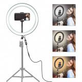 Lampa circulara cu suport selfie, putere de 60W pentru foto, make-up, cosmetica