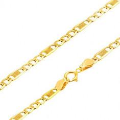 Lanţ de aur 375 - trei zale ovale şi una mai lungă cu plasă, 450 mm