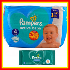 Scutece Pampers Nr 4 Active Baby Giant Pack, 9-14 kg, 76 Buc+Servetele Umede