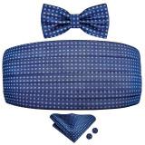 Set brau barbati, papion, batista sacou si butoni camasa matase naturala model floral albastru bleumarin Marlon Brando