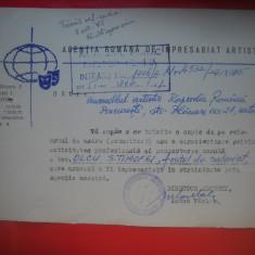HOPCT DOCUMENT VECHI NR 287  AGENTIA ROMANA  IMPRESARIAT ARTISTIC 1975 BUCURESTI