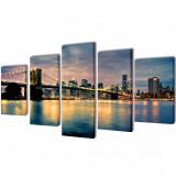 Set tablouri perete din pânză, podul Brooklyn, vedere râu, 200x100 cm, vidaXL