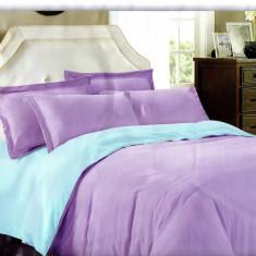 Lenjerie de pat cu 2 fete din Bumbac Satinat pentru 2 persoane cu 4 piese F22 10, 230x250 cm, Set complet