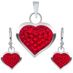 Set din argint 925, cercei şi pandantiv, inimă cu zirconiu roşu