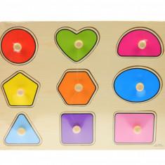 Tabla din lemn cu forme geometrice de jucarie, puzzle colorat - 00000116
