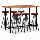 Set mobilier bar 7 piese lemn masiv de acacia și piele naturală, vidaXL