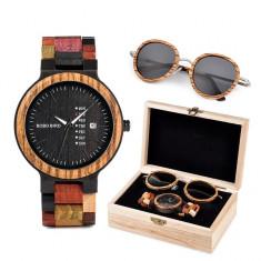 Set ceas din lemn Bobo Bird P14 si ochelari de soare din lemn Wooden Lux