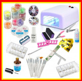 Kit Unghii False Gel Lampa UV 12 Sclipici Set Manichiura Tipsuri Set 15 Pensule