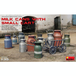 1:35 Milk Cans with Small Cart 1:35