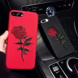 Husa de iPhone, cu trandafir brodat, pentru iPhone 6/6 Plus/7/7 Plus/8/8 Plus/X