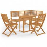 VidaXL Set mobilier bistro, 4 piese, lemn masiv de acacia