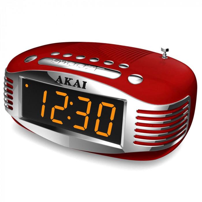 Radio cu ceas retro Akai CE-1500, AM/FM, Ecran LED, Sleep Timer, Rosu