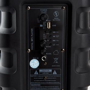 Boxa Activa Portabila Tip Troller, PK-15, Microfon si Telecomanda Incluse, Culoare Neagra