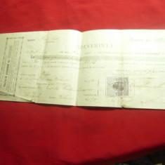 Polita de Asigurare - Adeverinta cu Timbru Fiscal 1911 ,Timbru Fiscal 10 bani