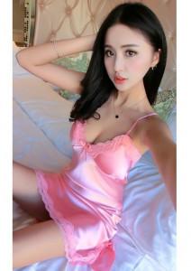 Rochita de noapte/pijama sexy din satin, pentru dama-ROZ,S