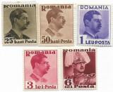 Carol II - uzuale, 1935 - 25 B, 50 B, 1 L, 3 L, 6 L, NEOBLITERATE, Regi, Nestampilat