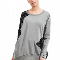 Bluza lejera, gri, cu dantela, L/XL, S/M