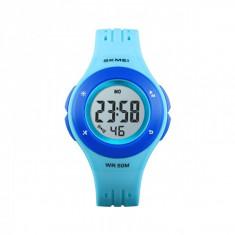 Ceas de copii sport SKMEI 1455 waterproof 5ATM cu cronometreu, alarma, zi si iluminare ecran, albastru