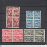 ROMANIA 1948   LP 233 -  1 MAI - ZIUA MUNCII  BLOCURI DE 4 TIMBRE  MNH