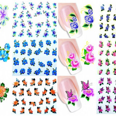 Set stickere/abtibilduri pentru unghii pe baza de apa Flori Flowers 48 FOLII