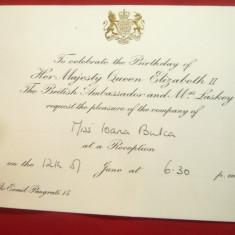 Invitatie -Antet- Receptia cu ocazia zilei Reginei Elisabeta IIa la Ambasada