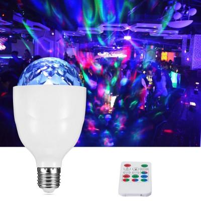 Bec proiector disco LED 3W, E27, rotativ, RGB, senzor sunet, telecomanda foto