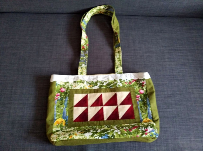 * Poseta sacosa cumparaturi cu motiv floral, hand-made, creative, 41x29x8cm
