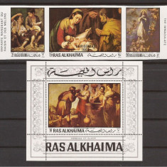 RAS AL KHAIMA PICTURA E. MURILLO (serie ndt. + colita dt.) MNH