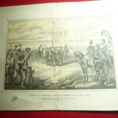 Fotografie- Plansa tiparita - Sosirea lui Soliman Pasa la Giurgiu 19 iulie 1848