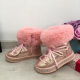 Ghete imblanite roz tip clapari de iarna cizme pt fete copii 25 26