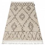 Covor Berber Fez G0535 cremă si maro Franjuri shaggy pletos, 70x300 cm