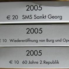 Lot 3 Monede Austria 10 Euro x 2-20 Euro 2005 Argint Proof