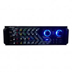 Amplificator profesional tip statie Vlliodor, 2 x 115 W, Bluetooth, USB, SD Card, Radio FM, 3 x intrari microfon