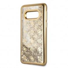 Husa de protectie, Guess Peony Liquid Glitter, Samsung Galaxy S10E, Auriu