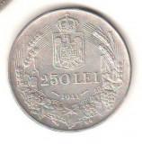 SV * Romania 250 LEI 1941 * NIHIL SINE DEO * ARGINT .835 * Regele Mihai I     XF
