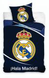 Lenjerie pat Real Madrid, 2 piese, 140x200cm, bumbac, bleumarin