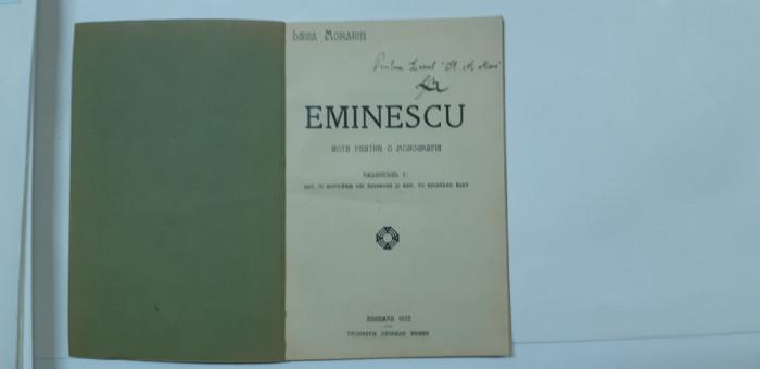 Eminescu:Leca Morariu,Eminescu.Note pentru o monografie,Cernauti, 1943