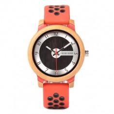 Ceas din bambus Bobo Bird cu curea din silicon rosu, R11-1 Wooden Lux