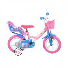 Bicicleta copii Dino Bikes, diametru roata 35 cm, model Purcelusa Peppa