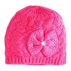 Caciulita roz tricotata din bumbac