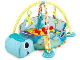 Tarc de joaca pentru copii tip piscina 3in1, model Broscuta, cu 30 bile multicolor, 100x68x50cm, albastru, Ecotoys