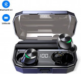 MUZILI T22- Casti Wireless cu touch. Bass. IPX6. Charging Case 3000 mAh, Casti In Ear, Bluetooth