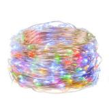 Instalatie luminoasa LED de Craciun, 20 led-uri, 2m, multicolor, Alimentat cu baterii 2xAA, Springos