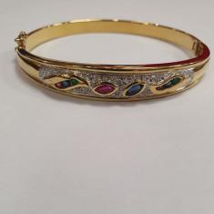 Bratara din aur galben 14K cu safire, rubine, smarald e, diamante