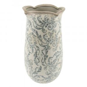 Vaza decorativa ceramica alb gri Flowers Ø 14 cm x 28 cm