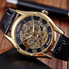 Ceas barbatesc Mecanic Winner Skeleton Gold
